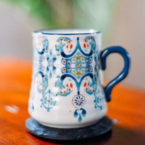 Ornate patterned Anthropologie Coffee Mug